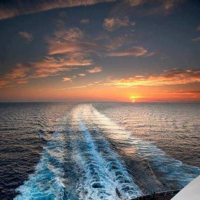 Enjoying a sunset sailing through the Caribbean.